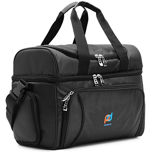 MOJECTO Cooler Bag-12x10x6.5-Inch.Two Insulated Compartments, Heavy Duty Polyester, High Density Insulation (Hot or Cold), 2 Heat Sealed Removable Peva Liner, Many Pockets, Strong Double Zipper