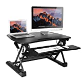 Smonet Standing Desk Converter, Height Adjustable Sit Stand Desk Riser, 36'' Computer Workstation Keyboard Tray Stand Up Desk ( Dual Monitor Black )
