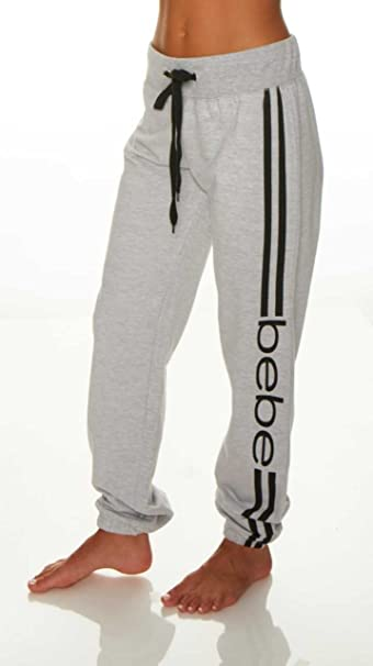 bebe Womens Elastic Waist Ankle Drawstring Lounge Pajama Sleep Pants  Heather Grey Small f55b06a8f