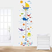 Woodland Arts 22  x 67  Undersea Fish Whale Octopus Crab Growth Chart Removable Vinyl Wall Decals Stickers for Children Room Nursery