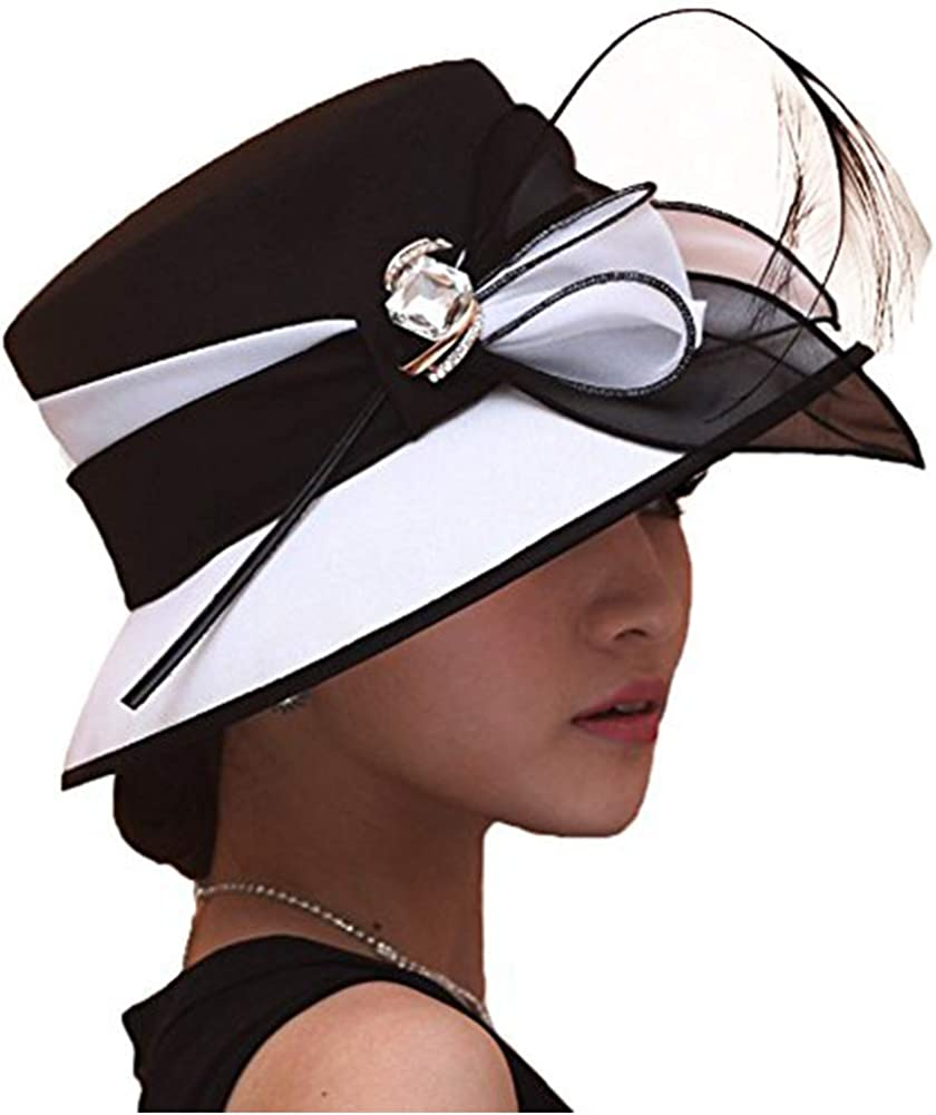 June's Young Women Church Hats Formal Dress Derby Hats with Feather Elegant Bucket Hats (Black/White) at  Women's Clothing store