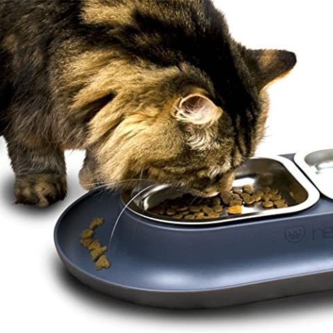 HEPPER NOMNOM PET BOWL Your cat can enjoy stress-free meals with our whisker-friendly design. The wide tray keeps your floor clean by catching drips and crumbs. Two Stainless Steel dishes for - Friendly Cat