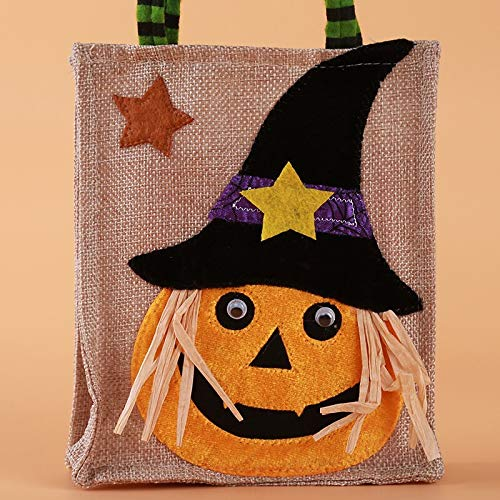 Pumpkin Basket - Halloween Pumpkin Drawstring Bag Candy Witch Bags Sacks Hallowmas Gift Party Decor - Storage Bar Micro Tray Storage Tray Metal Model Bed Child Black Pack Bag Supplies Wick]()