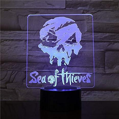 USB 3D LED Luz de Noche Sea of Thieves Figura Decoración ...
