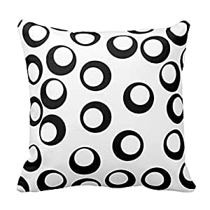 Black and White Circles Pattern Square Decorative Throw Pillow Case Cushion Cover 18X18 Inch Zippered (Two Sides)