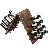 MyGift 30-Bottle Torched Wood Freestanding Wine Riddling Rack, Dark Brown