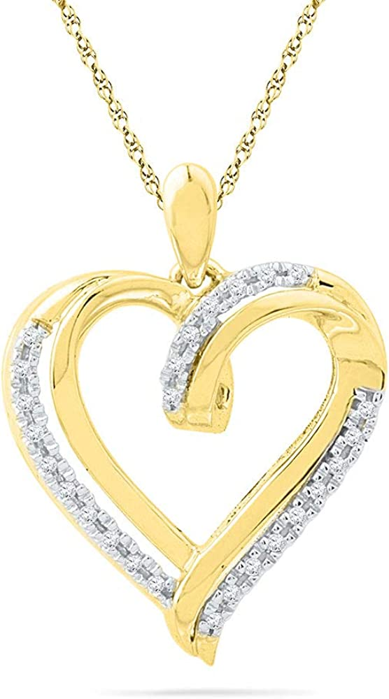 10k Yellow Gold Diamond Heart Love Pendant 1//10 ct