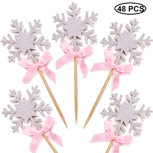 Set of 48 Silver Glitter Snowflake Cupcake Toppers with Pink Bow Cake Decoration -