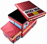 Fire Truck Collapsible Storage Organizer by Clever Creations | Storage Box Folding Storage Ottoman for Your Bedroom | Perfect Size Storage Chest for Books, Shoes & Games