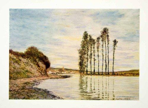 1912 Color Print Landscape Lake Pond Nature Trees Hillside Water Homer D. Martin - Original Color Print by...