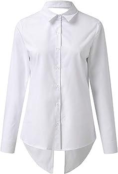 YGbuy-Camisas De Mujer De Moda Sin Respaldo Tops Sexy Tops De Encaje Camisa De Costura AsiméTrica Camisas De Mujer Casual Sueltas Camisa Polo De Manga Corta De Gran TamañO: Amazon.es: Ropa y