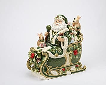 Cg Santa Claus Riding Green Sled with Rabbits Cookie Jar Figurine