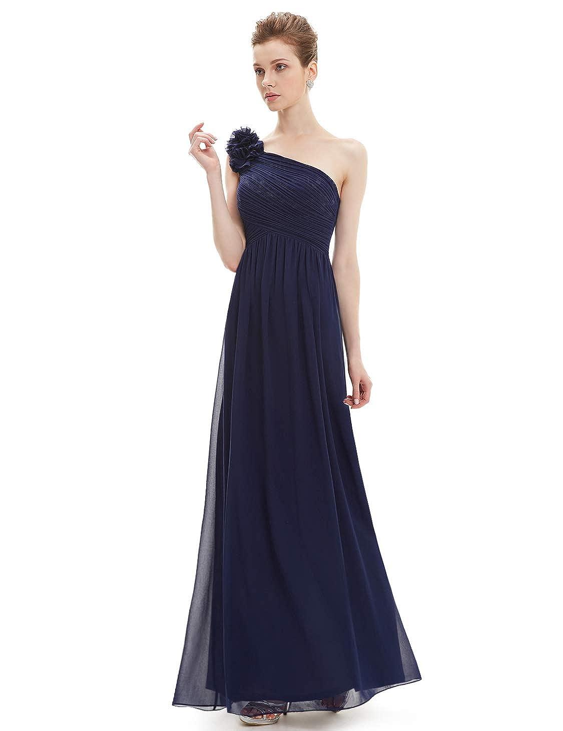 Ever-Pretty Robe de Soir/ée Longue Femme Seule /Épaule en fleurss Taille Empire 08237