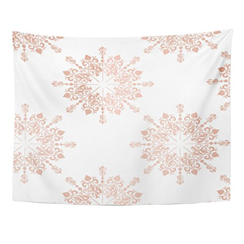 Emvency Tapestry Pink Blush Rose Gold Large Floral Lace Toile Announcement Baby Home Decor Wall Hanging for Living Room Bedroom Dorm 60x80 inches