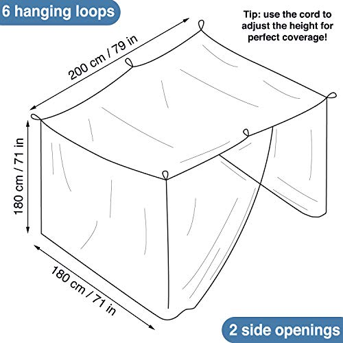 Universal Backpackers Mosquito Net for Double Bed - 6 Hanging Loops & 2 Side Openings - Bed Canopy Hanging Kit & Carrying Bag Included - Decorative Rectangular Shape for Home & Travel by Universal Backpackers (Image #3)