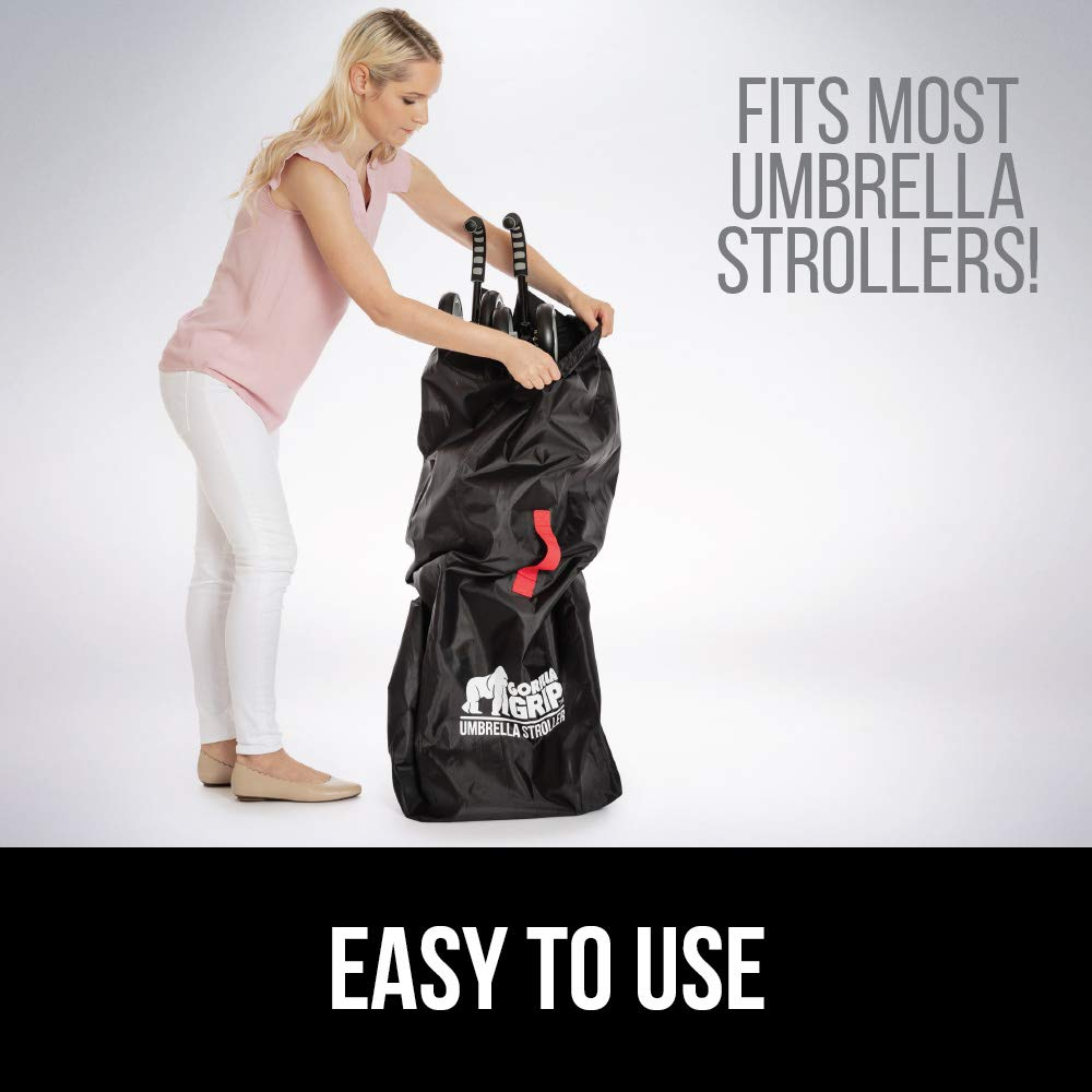 Gorilla Grip Umbrella Stroller Bag with Pouch, for Airplane Travel, Bonus Luggage Tag, Easy Carry, Universal Size Bags Fits Most Umbrella Strollers, for Airport Flying with Toddler Kids, Gate Check by Gorilla Grip (Image #5)