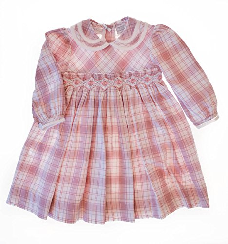Carriage Boutique Baby Girl's Hand Smocked Cotton Flannel Dress (6M, Pink) ()