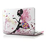 iCasso New Art Fashion Image Series Ultra Slim Light Weight Rubberized Hard Case Glossy Clear Crystal Snap-On Hard Cover Case for MacBook Pro 13 inch (Model: A1278) - Butterfly Girl