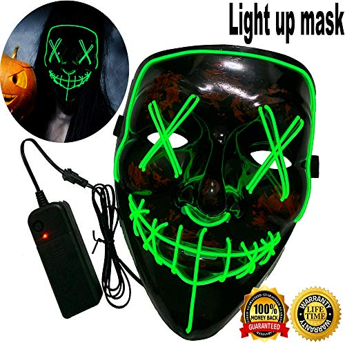 Halloween Mask Neon Mask led mask Scary Mask Light up Mask Cosplay Mask Lights up for Halloween Festival Party (Vmask Mask Limegreen)]()
