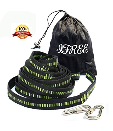 Siesta Aluminum Sling (IFREE Hammock Tree Straps, Camping Hammock Hanging Tree Straps Adjustable 100% Polyester No Stretch 2 Straps 9.84 ft with 32 Loops+ 2 Safer Lock Snap Carabiner Hooks Heavy Duty Holds Up 880Lbs)