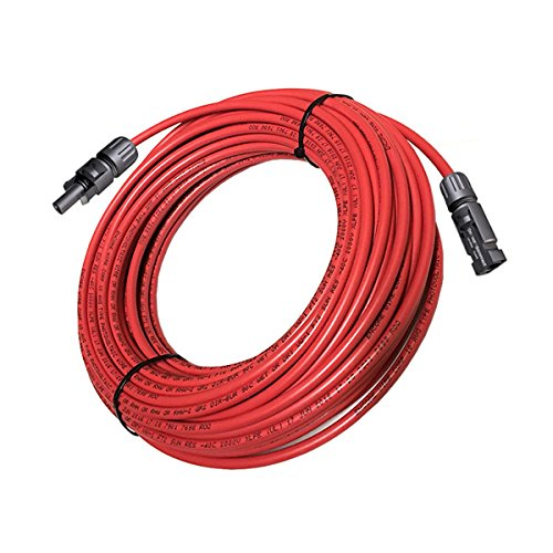 Solar PV Cable 80 FT - 10 AWG MC4 Solar PV Wire, Copper, UL 4703-2000V- RED