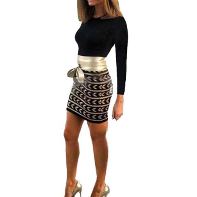 Señoras Vestidos - Mini Vestido Sexy Vestidos Slim Fit De Manga Larga Vestido De Fiesta Estampado Patchwork Vestidos De Trabajo con Cinta Blanca: Amazon.es: ...