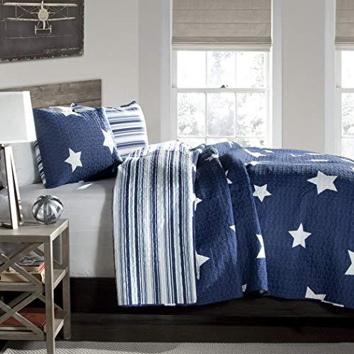 (Full / Queen Size Bedding Quilt Set in Star Print Design For Teen Boys Bedroom)