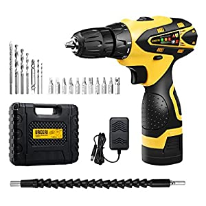 URCERI 16.8V Cordless Electric Drill Driver Kit 2000 mAh Lithium-ion Battery 18+1 Keyless Clutch 2-Speed Driver with Built-in Front LED, 16 Pcs Bits, Magnetic Tip Holder & Flexible Shaft