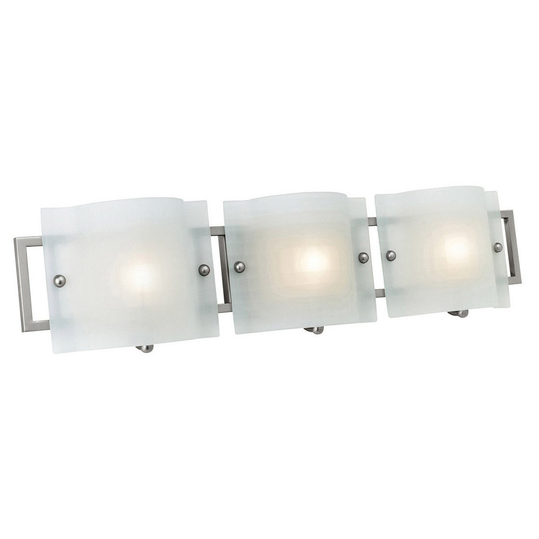 Access Lighting 53313-BS/CKF Nara 3-Light ADA Wall/Vanity Fixture, Brushed Steel Finish with Checkered Frosted Glass Shades