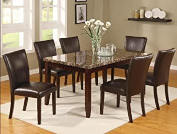 Brand New 7 Pc Ferrara Dining Table W Marble Top And 6