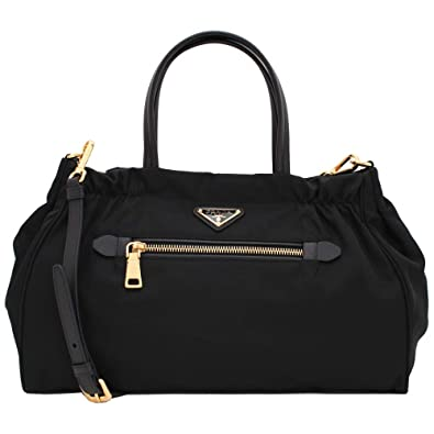 0aae326172c3 Amazon.com: Prada Women's Tessuto Nylon & Saffiano Leather Trim Shoulder  Tote Bag Black 1BA843: Shoes