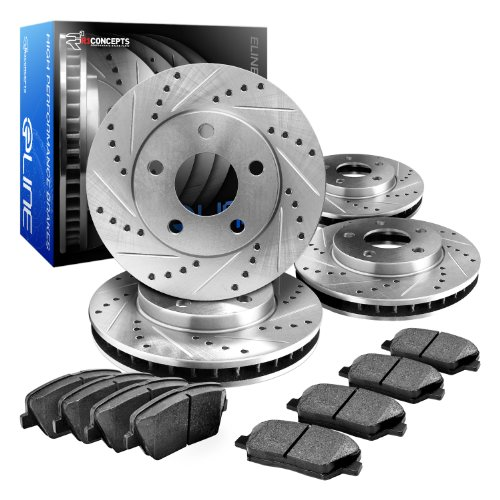 (R1 Concepts CEDS10678 Eline Series Cross-Drilled Slotted Rotors And Ceramic Pads Kit - Front and Rear)