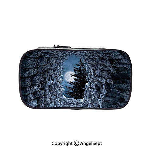 Cute Pencil Case - High Capacity,Dark Cave with The Light of Full Moon at Night Scary Horror Medieval Gothic Theme Artwork Blue Grey 5.1inches,Multifunction Cosmetic Makeup Bag,Perfect Holder for Pen