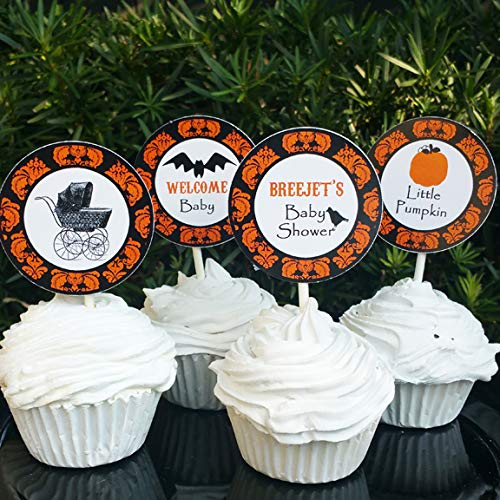 Amazoncom Personalized Halloween Baby Shower Cupcake Toppers Picks