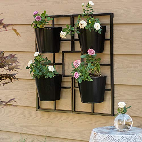 Modern Black Finish Metal Geometric Hanging Wall Planter Patio Vertical Wall Planter