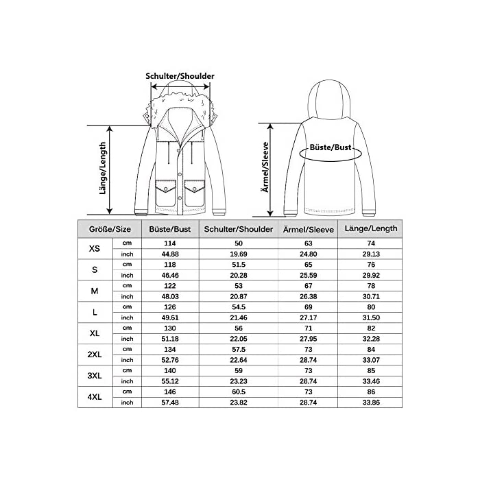 51S%2BcB3VQBL Esta chaqueta cálida está hecha de tela suave y tiene puños acanalados para un ajuste cómodo alrededor de la muñeca, contra el viento frío. Chaqueta parka con capucha hombre,Forro de lana y capucha desmontable. Material: 95% Poliéster + 5% Nylon