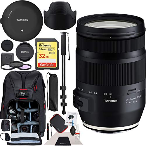Tamron 35-150mm F/2.8-4 Di VC OSD Full Frame Zoom Lens Model A043 for Nikon F Mount DSLR Cameras Premium Accessory Set TAP-in Console Deco Gear Backpack + Filter Kit + Monopod Bundle