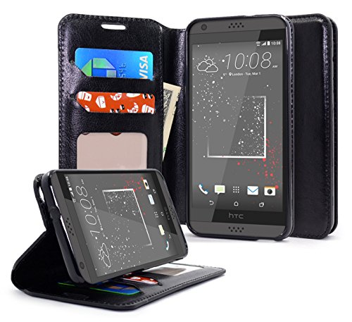 HTC Desire 530 Case, NageBee [Kickstand Feature] Premium PU Leather Flip Fold Wallet Case with [ID&Credit Card Slot] for HTC Desire 530 - Black - Htc Snap Screen