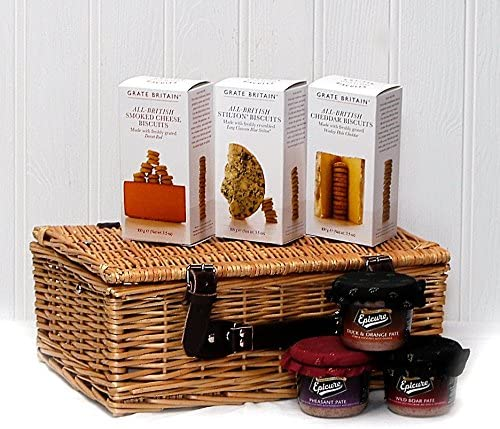 Crackers And Pate Food Hamper Presented In A Wicker Gift Basket Gift Ideas For Mum Mothers Day Birthday Valentines Fathers Day Business And Corporate Amazon Co Uk Grocery