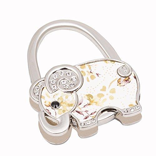 VIVOHOME Metal Foldable Golden and White Elephant Handbag Purse Hook Hanger