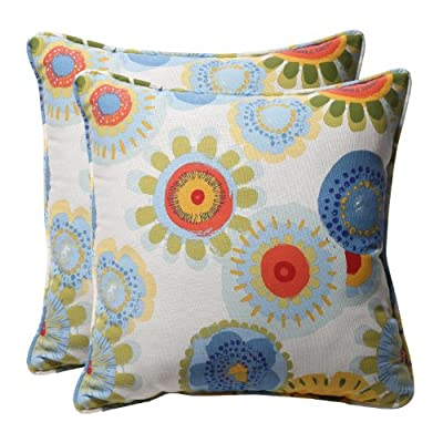 "Pillow Perfect Decorative Floral Square Toss Pillows 18-1/2""L x 18-1/2""W x 5"" D Multicolored - Includes two (2) outdoor pillows, resists weather and fading in sunlight; Suitable for indoor and outdoor use Plush Fill - 100-percent polyester fiber filling Edges of outdoor pillows are trimmed with matching fabric and cord to sit perfectly on your outdoor patio furniture - living-room-soft-furnishings, living-room, decorative-pillows - 51S%2BcclE57L. SS400  -"