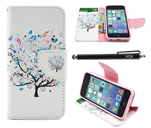 iPhone 5C Case, iPhone 5C Case Wallet, iYCK Premium PU Leather Flip Carrying Magnetic Closure Protective Shell Wallet Case Cover for iPhone 5C with Kickstand Stand - Butterfly Floral Tree