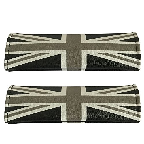 2pcs Set Black and White Union Jack Logo Car Seat Safety Belt Covers Leather Shoulder Pad Accessories Fit for Hyundai Toyota Honda Subaru Ford BMW Mercedes Benz Volkswagen Infiniti Chevrolet Cadillac