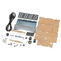 KKmoon DIY Digital LED Clock Kit Compact 4-digit Light Control Temperature Date Time Display with Transparent Case (Blue)