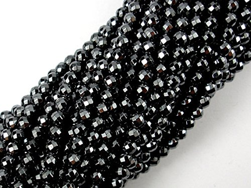 Hematite Round Earrings - jennysun2010 Natural Hematite Gemstone 2mm Faceted Round Loose Beads Length 15.5'' Inches (38.5cm) 1 Strand per Bag for Bracelet Necklace Earrings Jewelry Making Crafts Design Healing