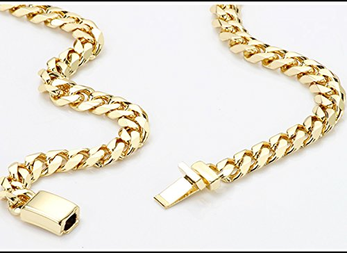 Gold chain necklace 14.5MM 24K Diamond cut Smooth Cuban Link with Warranty Of A LifeTimeLifetime USA made (28) by 14k Diamond Cut Smooth Cuban (Image #4)