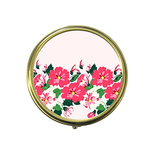 Vintage Flowers Floral Pretty Simple Cute Pink Flowers Pill Box Custom Fashion Bronze Tone Round Pill Box Medicine Tablet Holder Wallet Organizer Case for Pocket or Purse