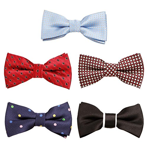 Bundle Monster 5 pc Boys Mixed Pattern Adjustable Elastic Pre-Tied Bow Tie Fashion Accessories - Set 6 (Boys Ties Bundle)