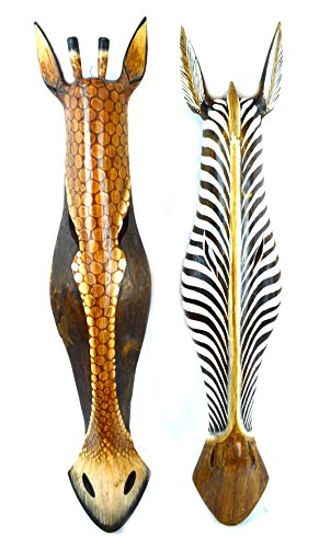 Set of 2 African Zebra and Giraffe Mask Extra Large Jungle Art 32