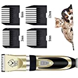 WUXIAN Dog Clippers, Professional Quiet Rechargeable Cordless Dog/Cat Clippers Dog Hair Trimmer With 2 Batteries+2 Stainless Scissors+Stainless Comb+Nail Kits and othe